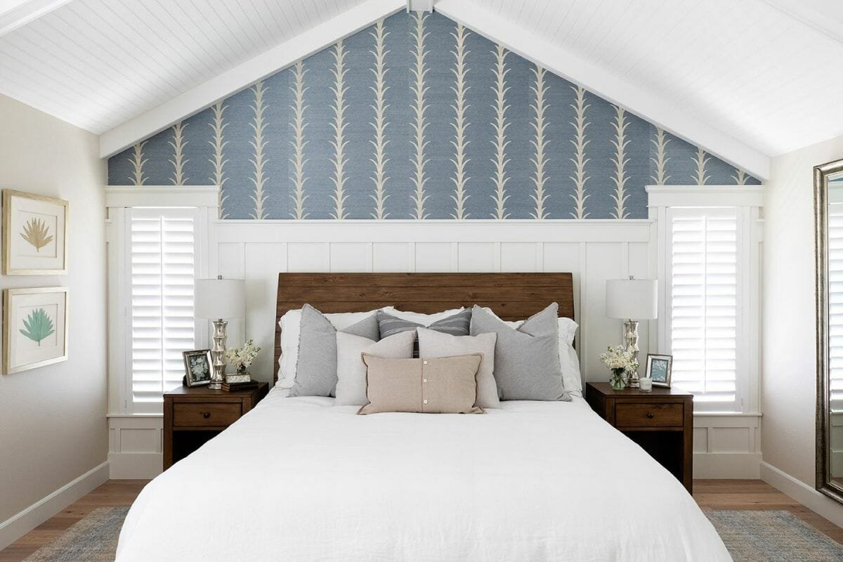 Coastal and transitional bedroom created with interior design help