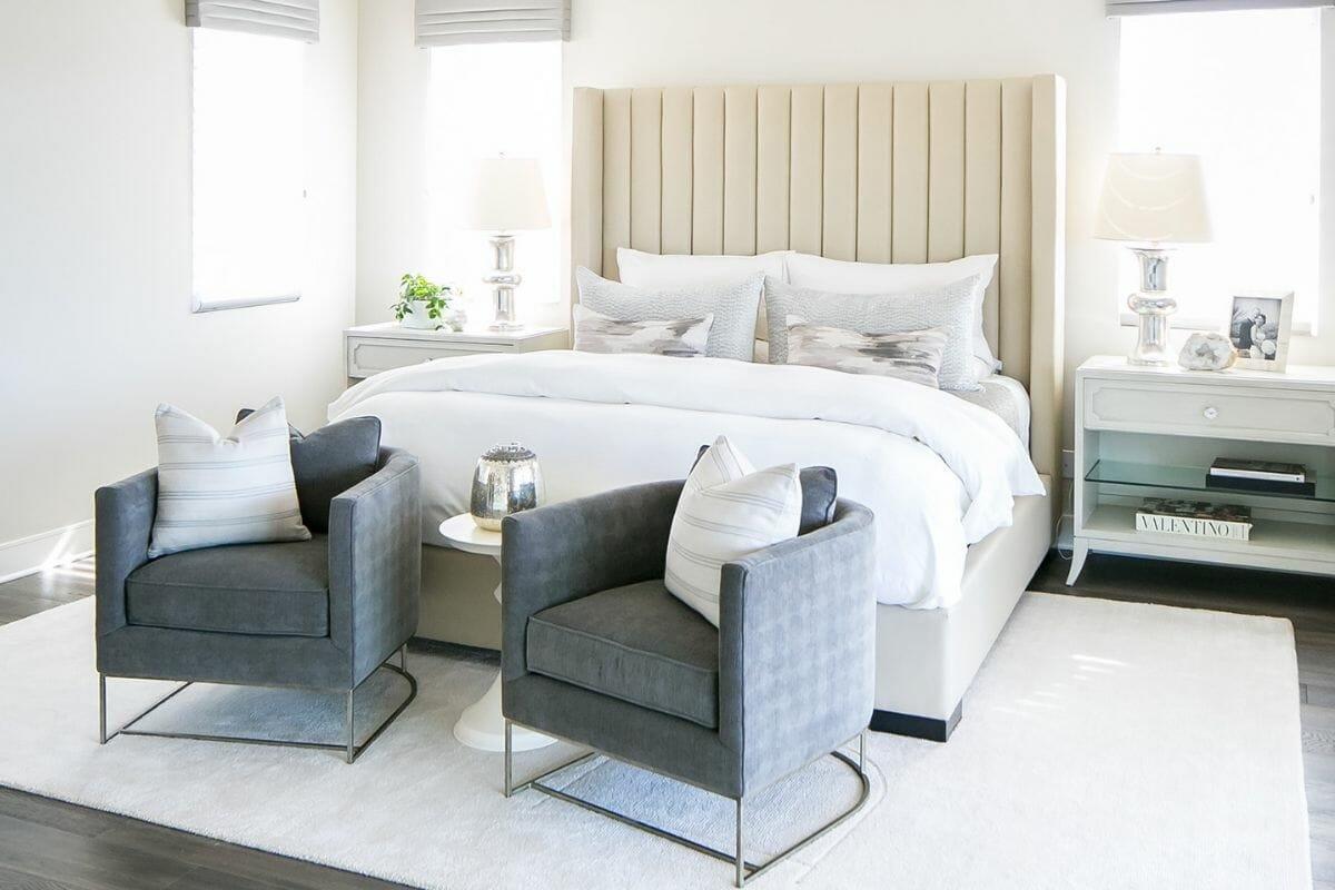 Transitional bedroom interior design in San Diego