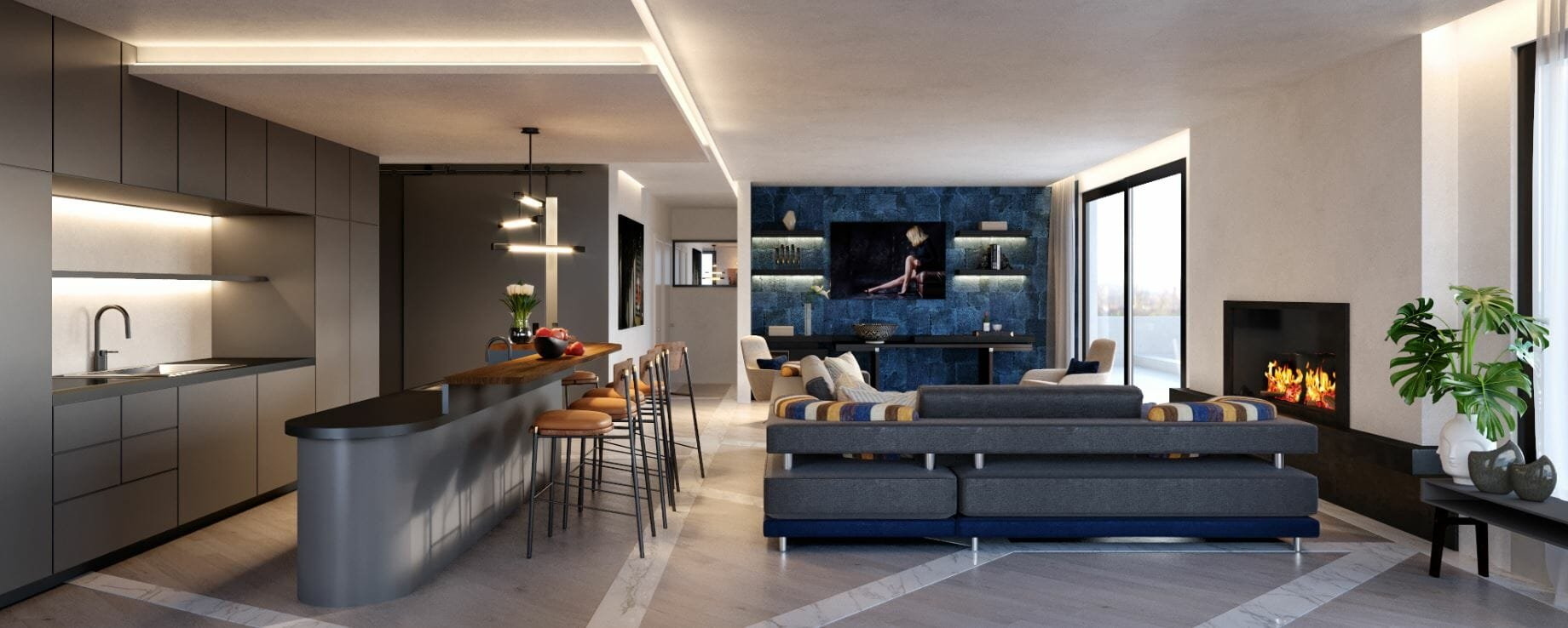 decorilla vs havenly - decorilla living room 3d rendering