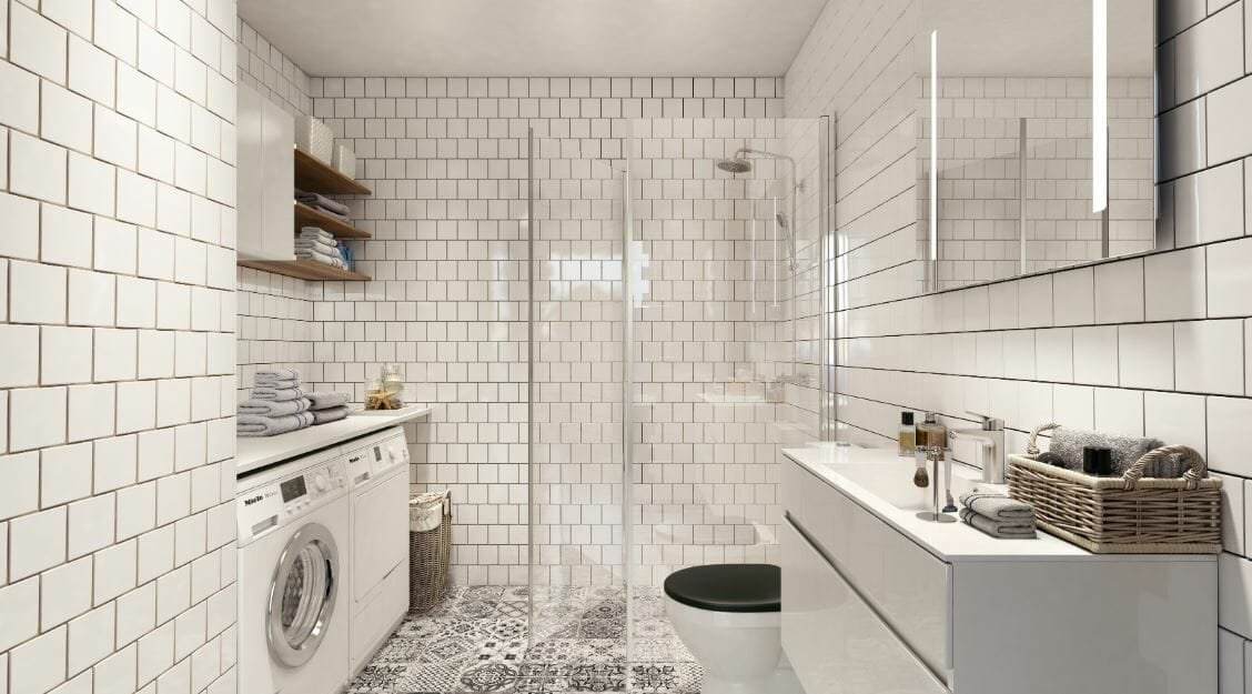 laundry room 3d rendering - home interior design