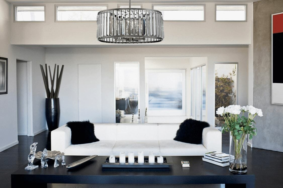 modern living room design black and white