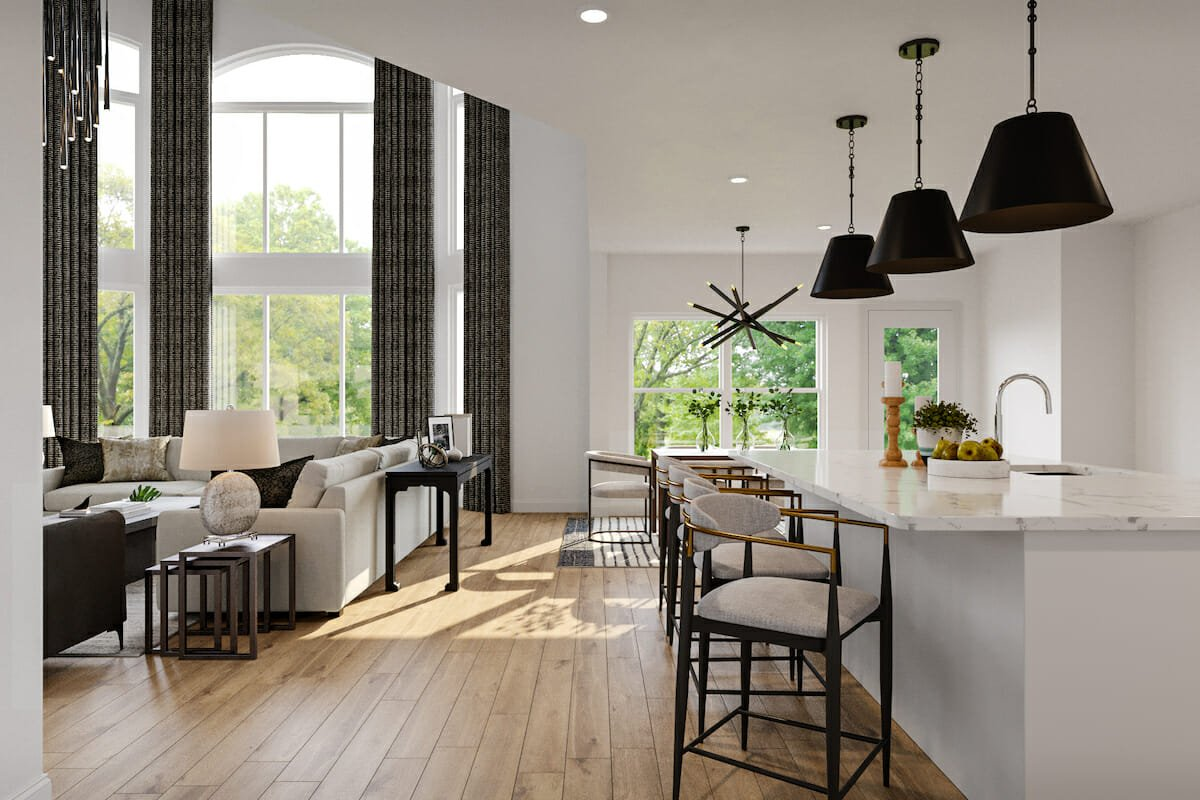 contemporary open plan living and dining by affordable interior designers Decorilla