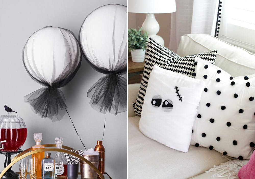 Tulle balloon and pillow as halloween home decor 2019