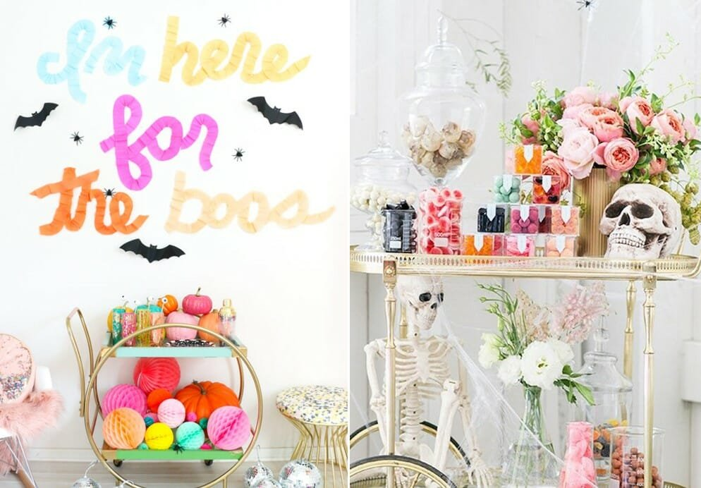 colorful and cheap halloween decorations on a bar cart