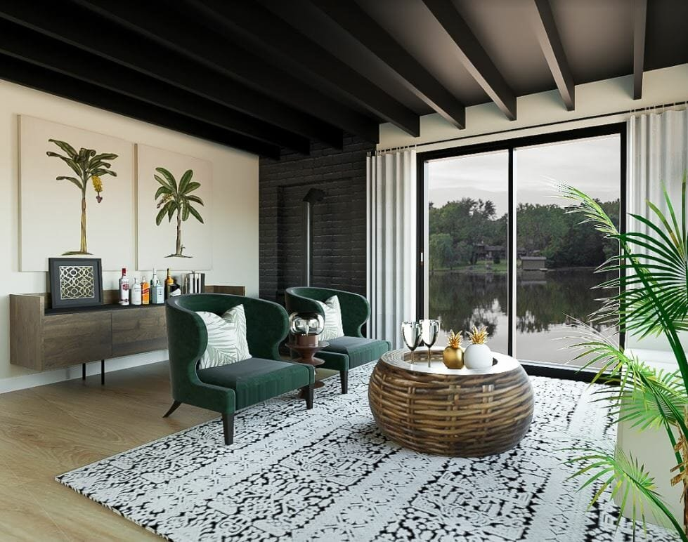 decorilla vs modsy comparison 3d renderings tropical living room