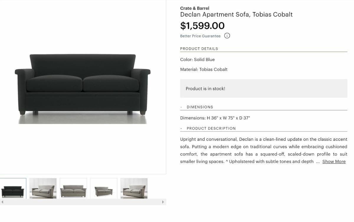 decorilla vs modsy - crate and barrel sofa comparison