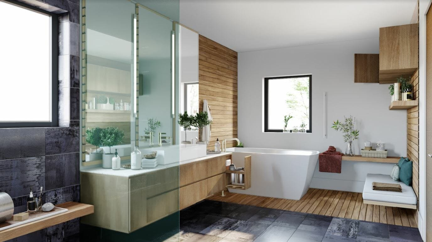 decorilla vs modsy - decorilla bathroom 3d rendering