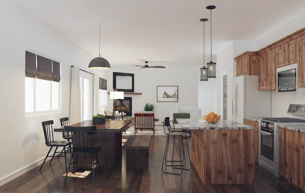 farmhouse interior design kitchen and dining room