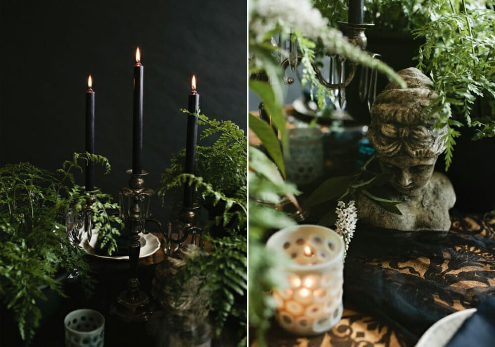 ferns and greenery on a halloween table