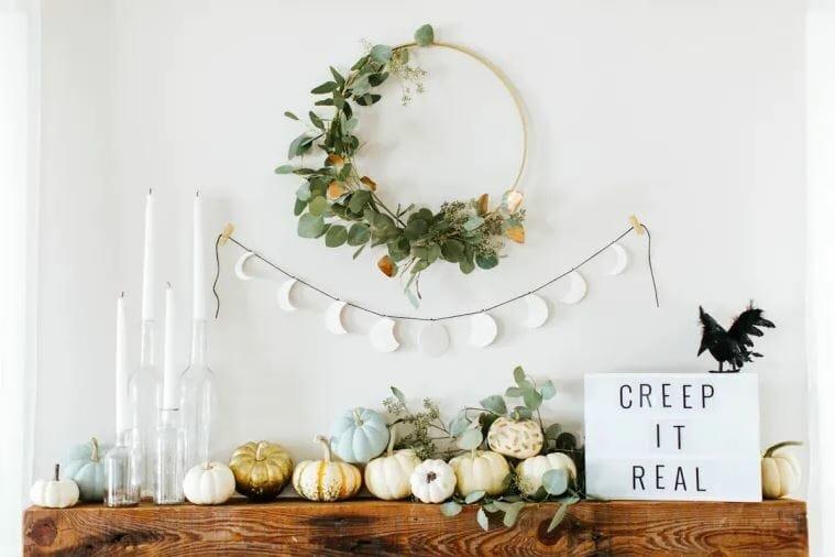 halloween home decor 2019 neutral mantel