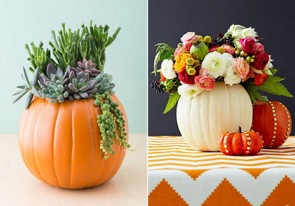 pumpkin vases as inexpensive halloween decor
