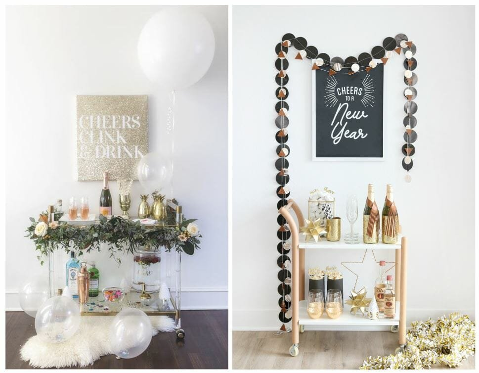 new year's eve home decorating ideas bar cart
