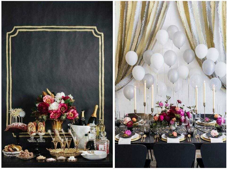 new year's eve home decorating ideas black and gold with pink