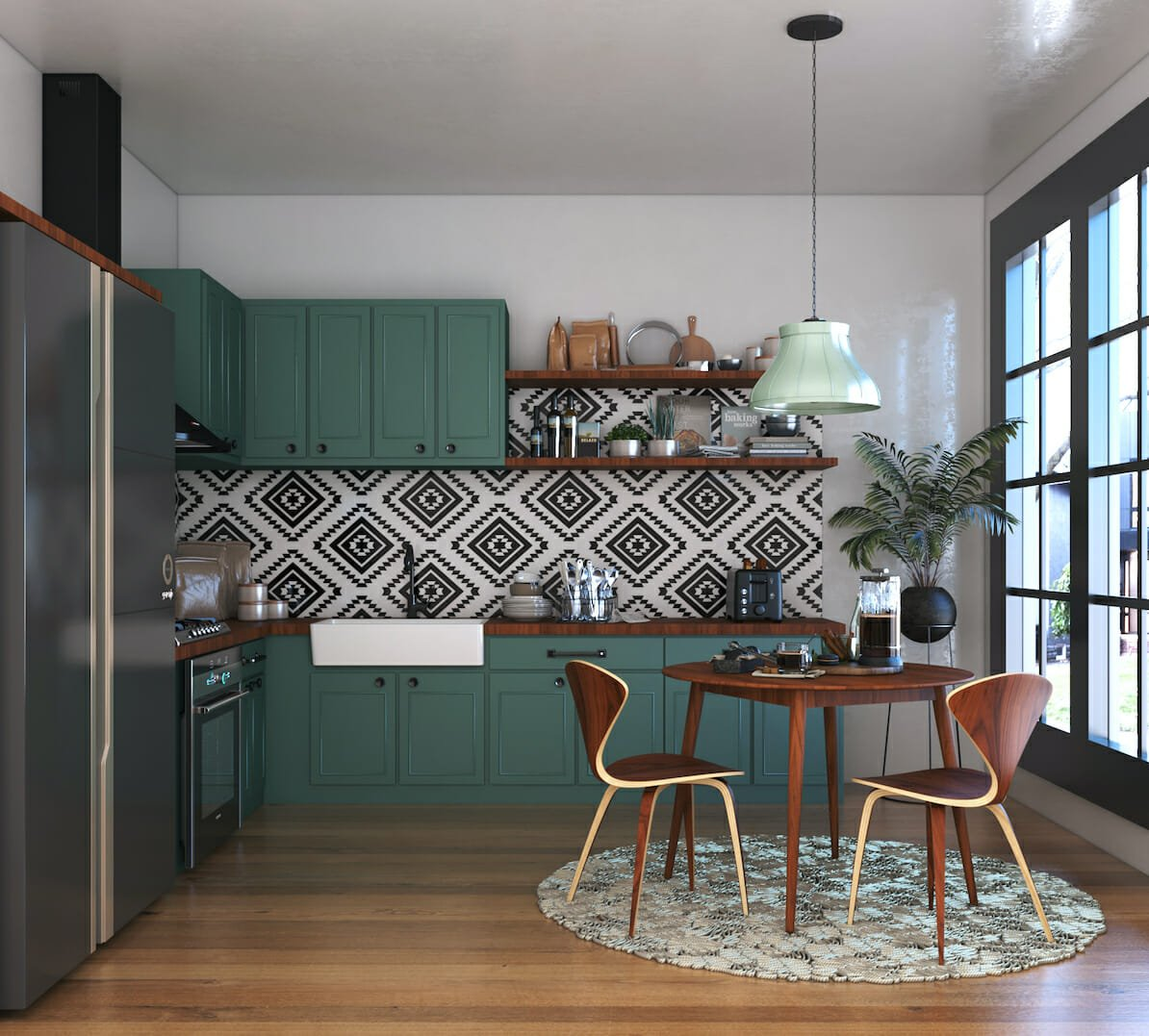 Kitchen design ideas - statement tile backsplash