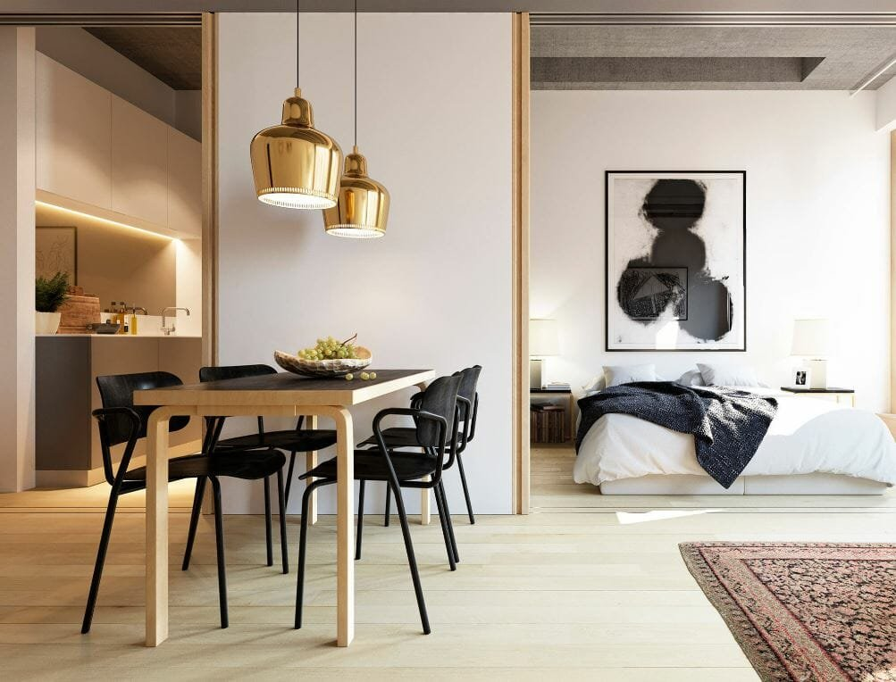 black and white studio apartment design