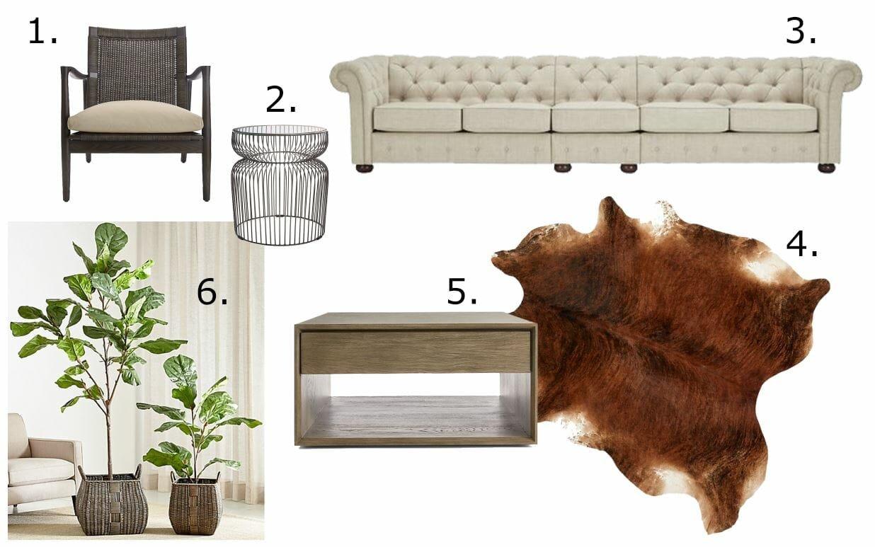 get the look - modern rustic living room design