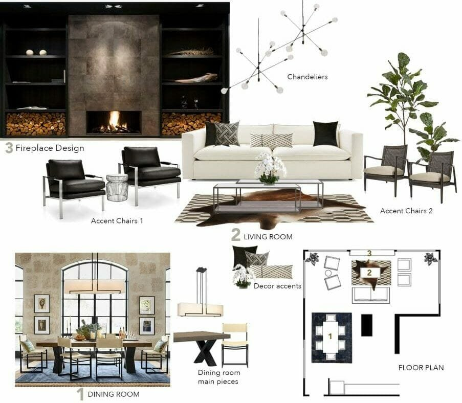 modern rustic living and dining room moodboard decorilla