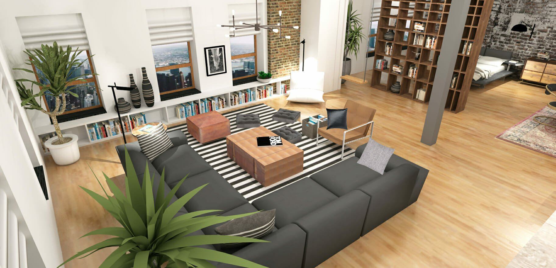 studio apartment layout ideas industrial style