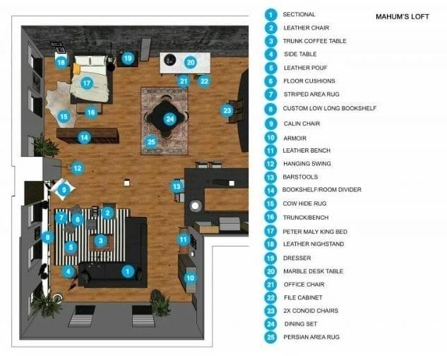 studio apartment layout ideas - decorilla shopping list