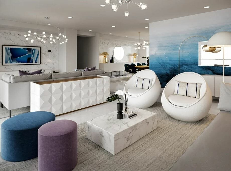 Best contemporary living rooms in white, blue and purple