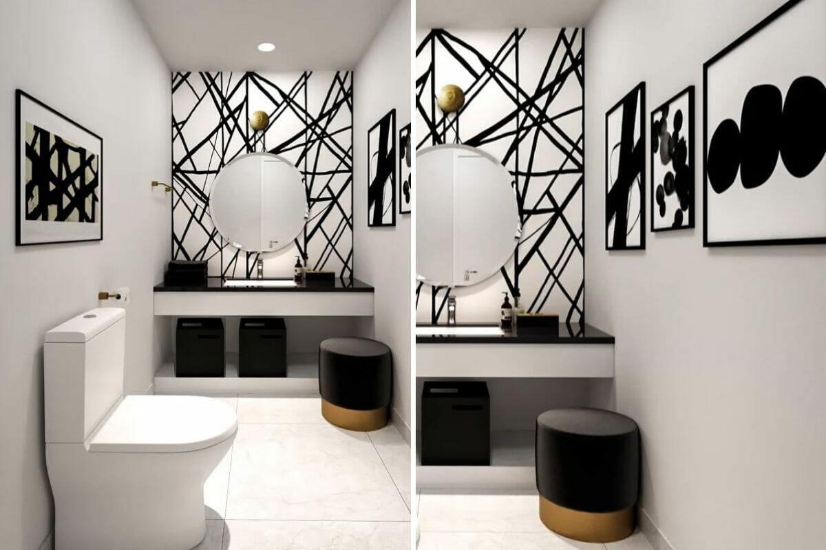 condo bathroom design in black and white