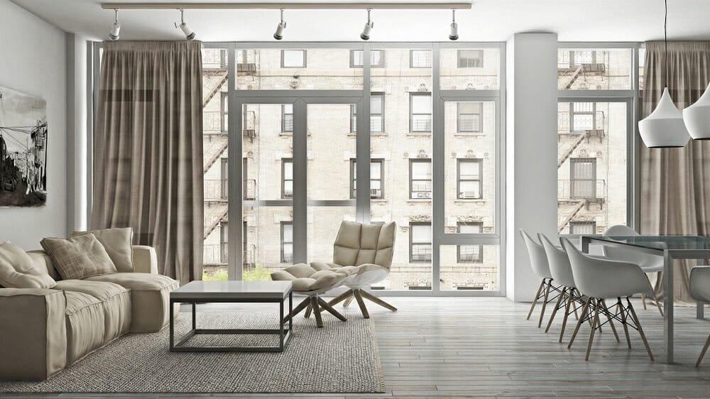 Minimal loft interior house floor plan