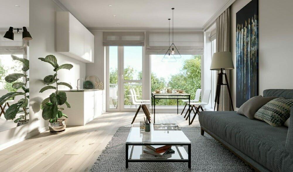 Scandinavian interior of a loft home plan
