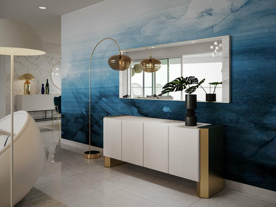 blue paint-effect feature wall in a modern condo interior design