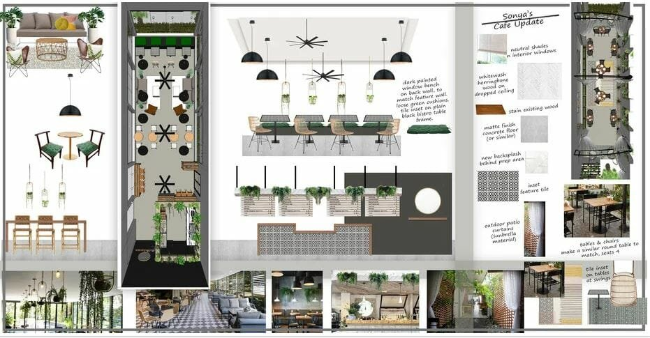 decorilla coffee shop design moodboard