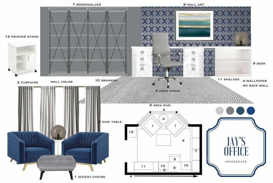 decorilla home office moodboard design