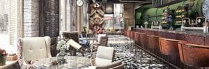 elcectic coffee shop interior design feature