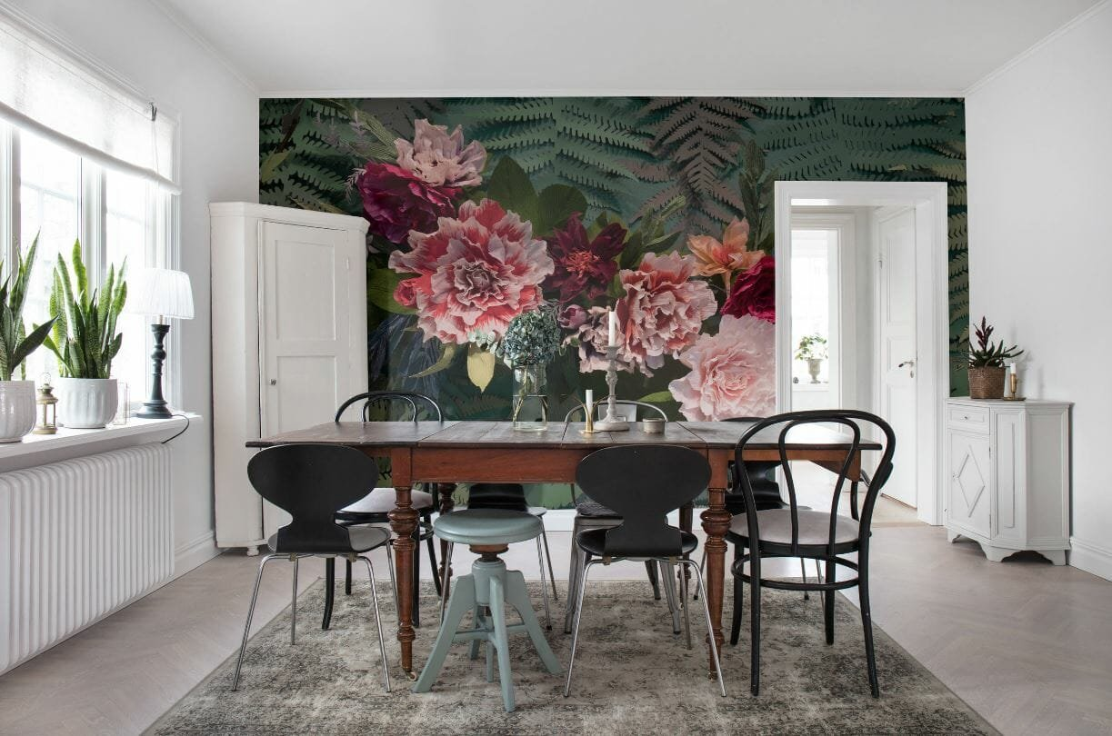 floral wallpaper in scandinavian dining room