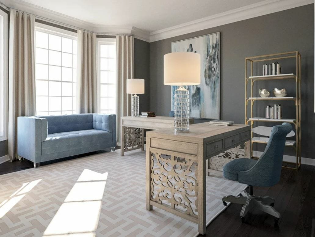 sophistciated home office design decorilla