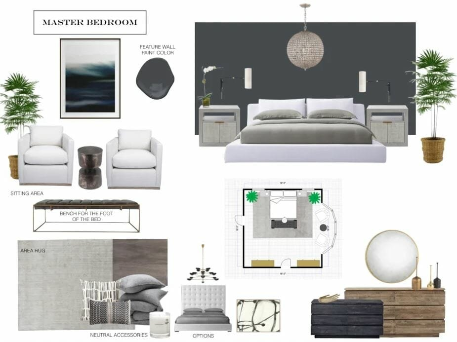 transitional bedroom moodboard design