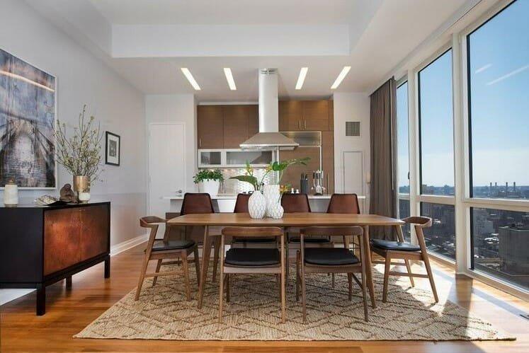 Modern interior design with neutral walls
