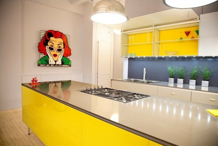 Yellow modern kitchen interior design idea