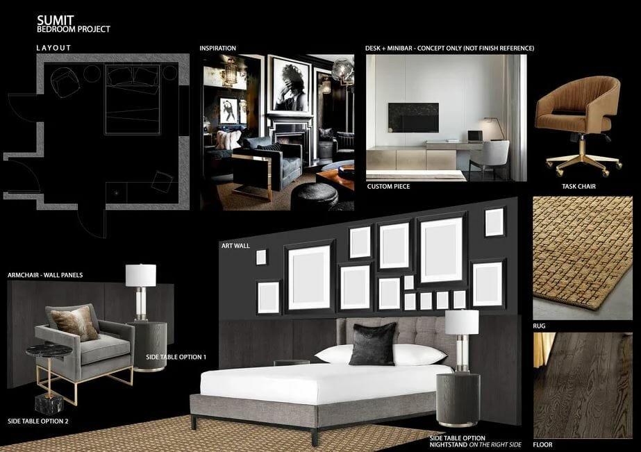 bedroom design online - decorilla moodboard