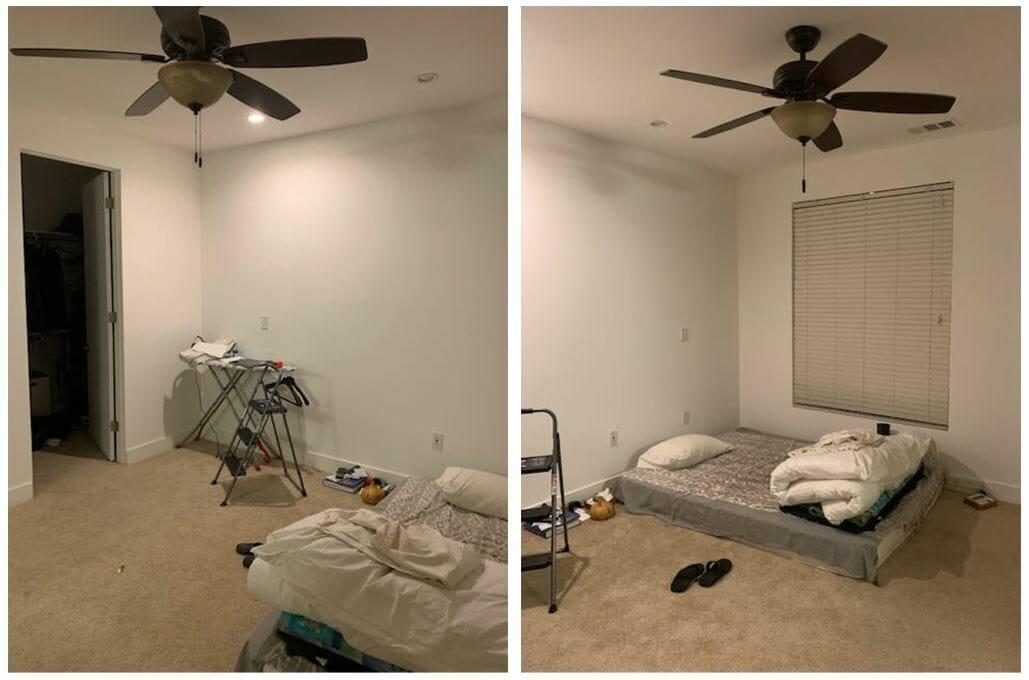 contemporary bedroom design before - decorilla client photos