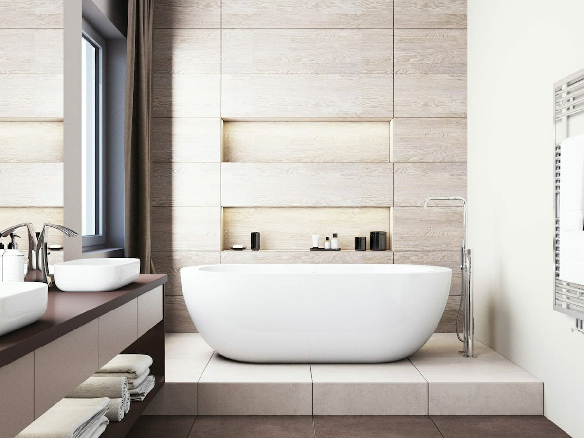 Bathroom with tranquil home decor that makes a home happier