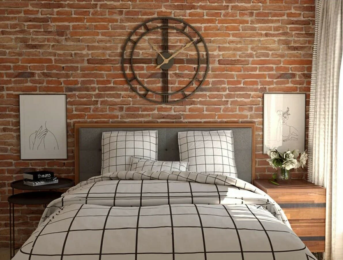 Industrial bedroom with wall art decor in NYC