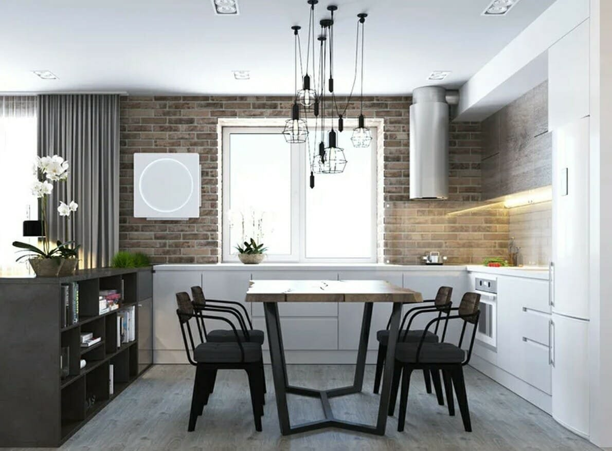Scandi industrial dining and kitchen room in an New York apartment interior