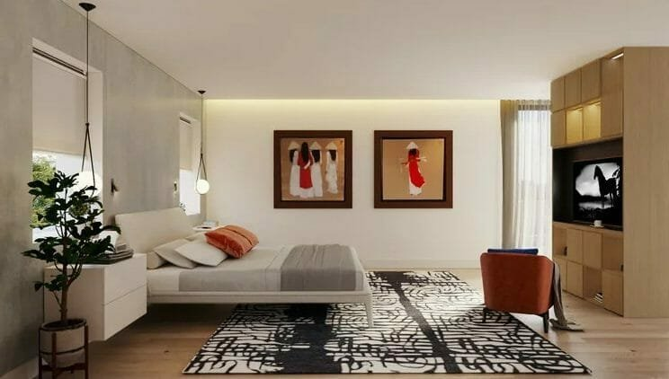 3D rendering of Asian inspired bedroom layout ideas