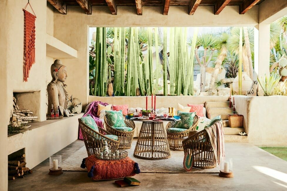 Asian inspired covered-patio designs-with colorful textiles and wicker furniture