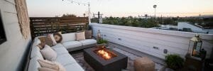 Beautiful rooftop with a firepit