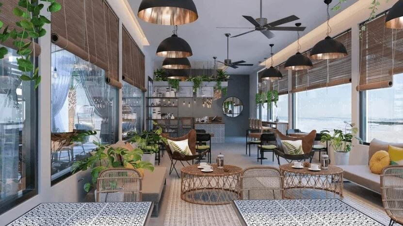Coffee shop design completed by working with an interior designer online