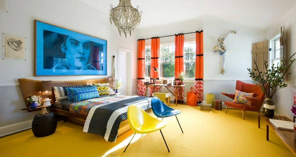 Colorful bedroom as an idea for online interior design services