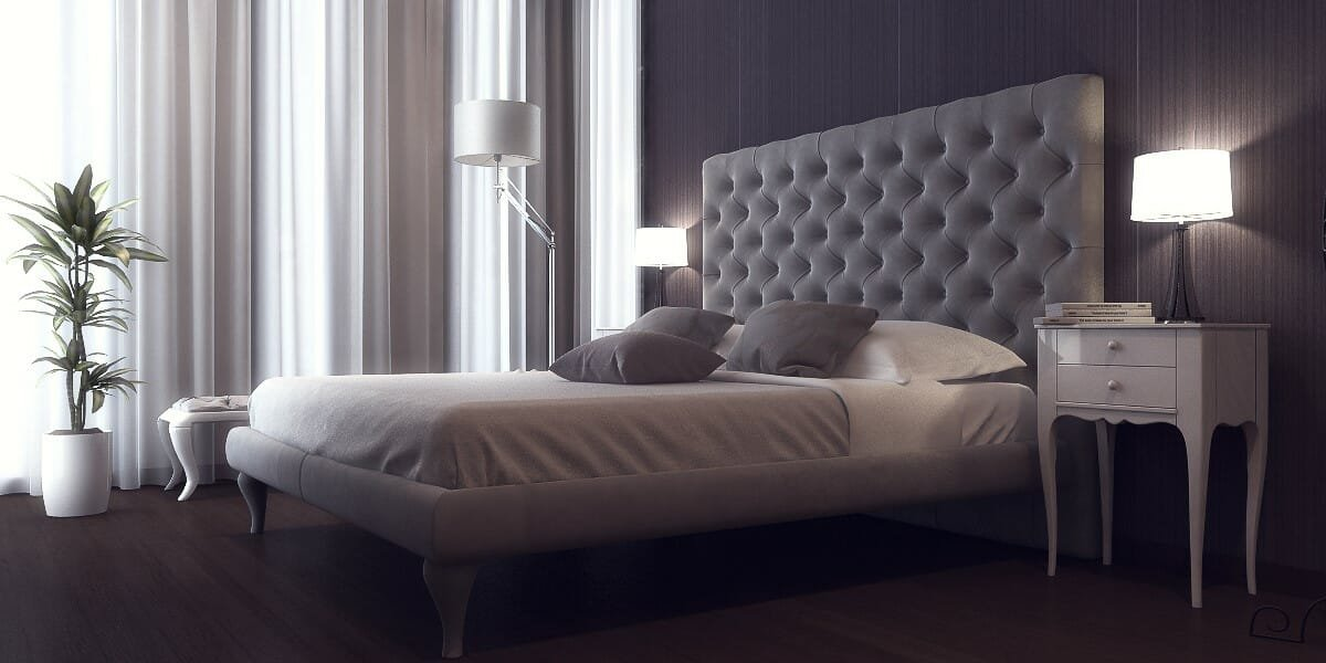 Contemporary bedroom layout idea in sophisticated grey