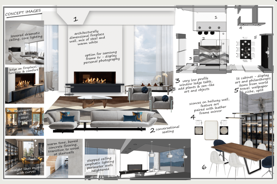 Contemporary home design moodboard lays out ideas.