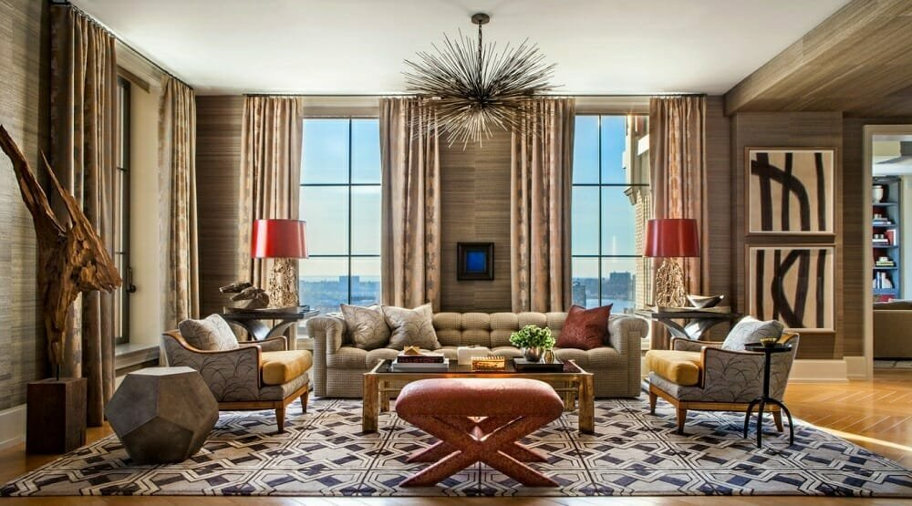 Eclectic living room online interior design services can create