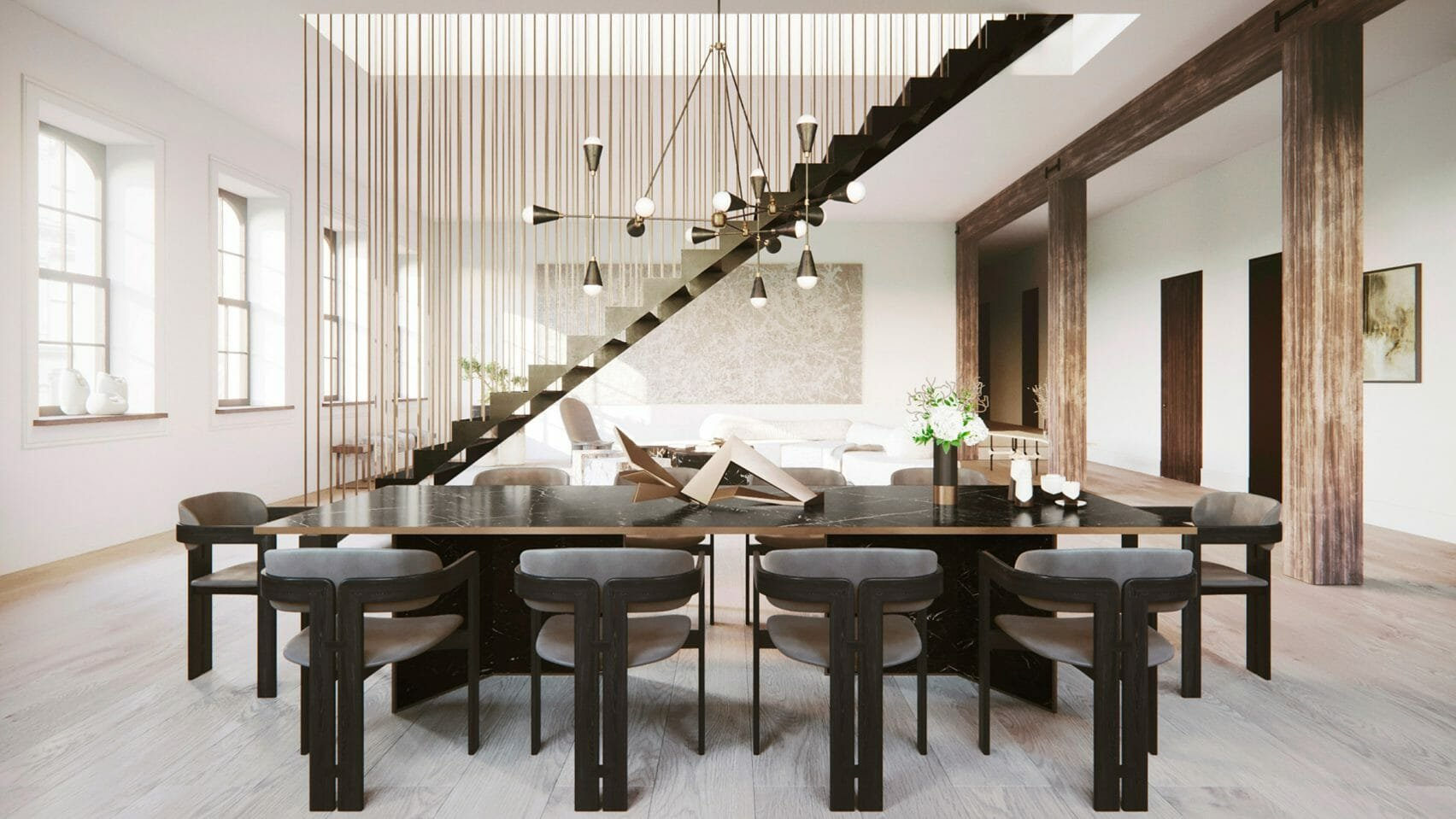 High End NYC Loft Interior Design with Hanging Staircase